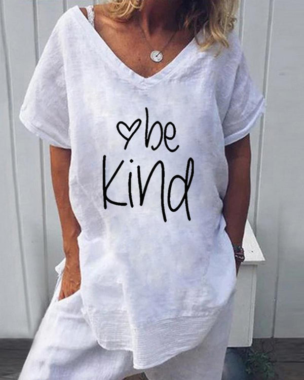 Be Kind Heart Print T-Shirt
