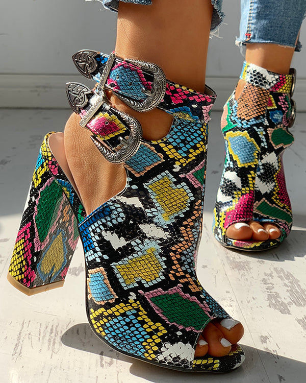 Snakeskin Ankle Buckled Chunky Heels