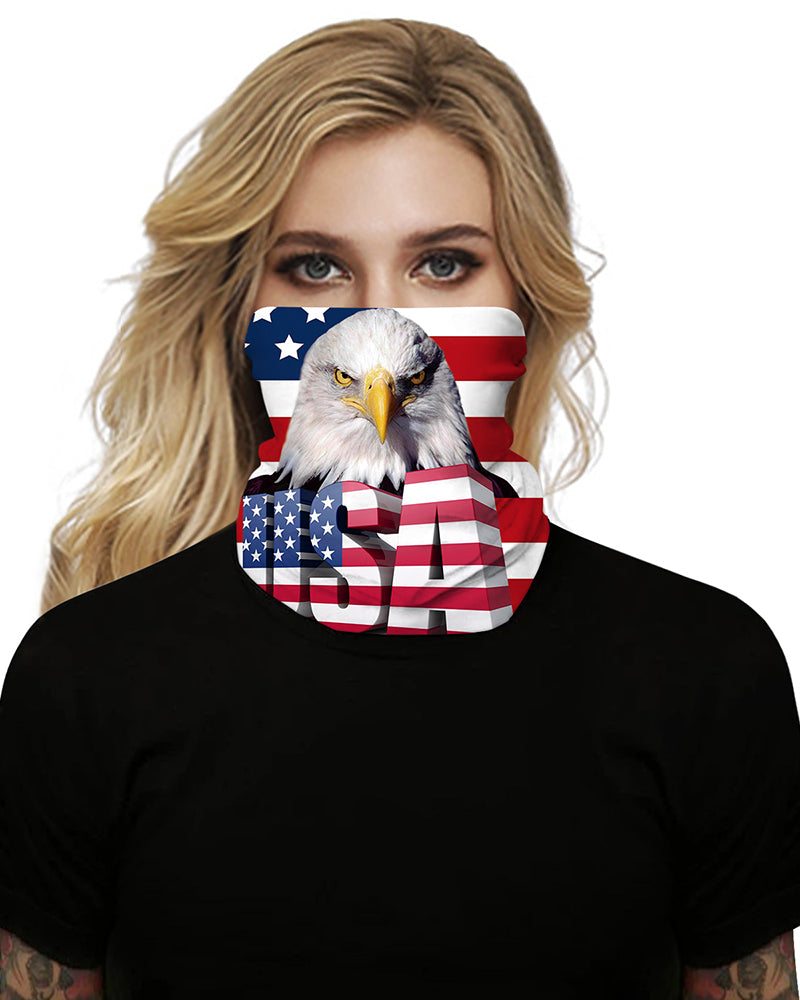 Flag Animal LetterPrint Breathable Face Bandana Magic Scarf Headwrap Balaclava