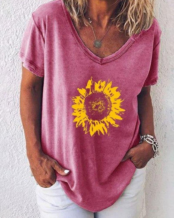 Sunflower Print Casual Loose T-shirt
