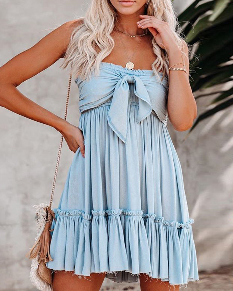 Solid Bandeau Knotted Mini Dress