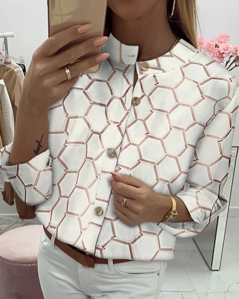 Print Long Sleeve Buttoned Casual Shirt