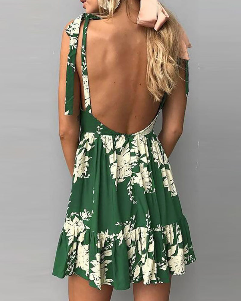 Tied Strap Floral Print Ruffles Backless Pleated Dress
