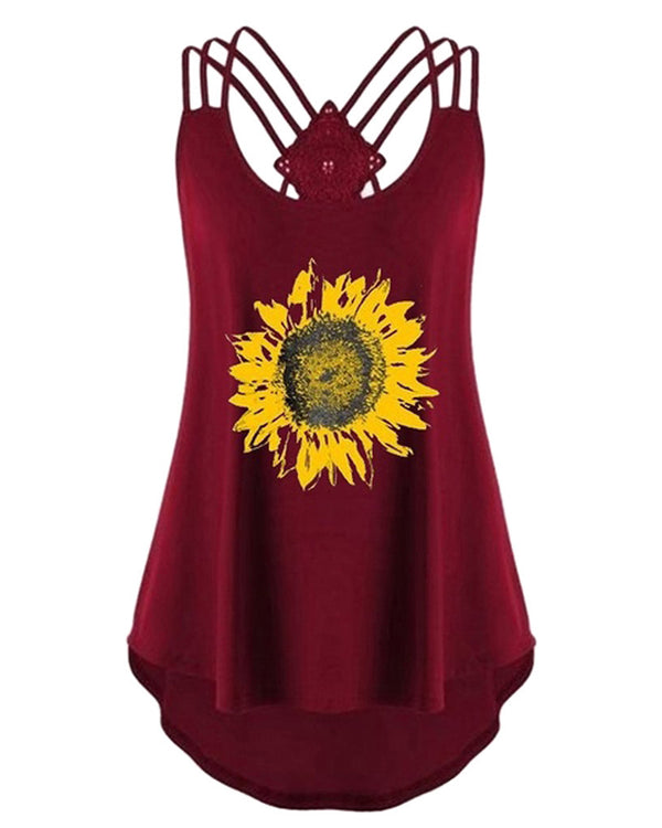 Sunflower Print Round Neck Sleeveless Top