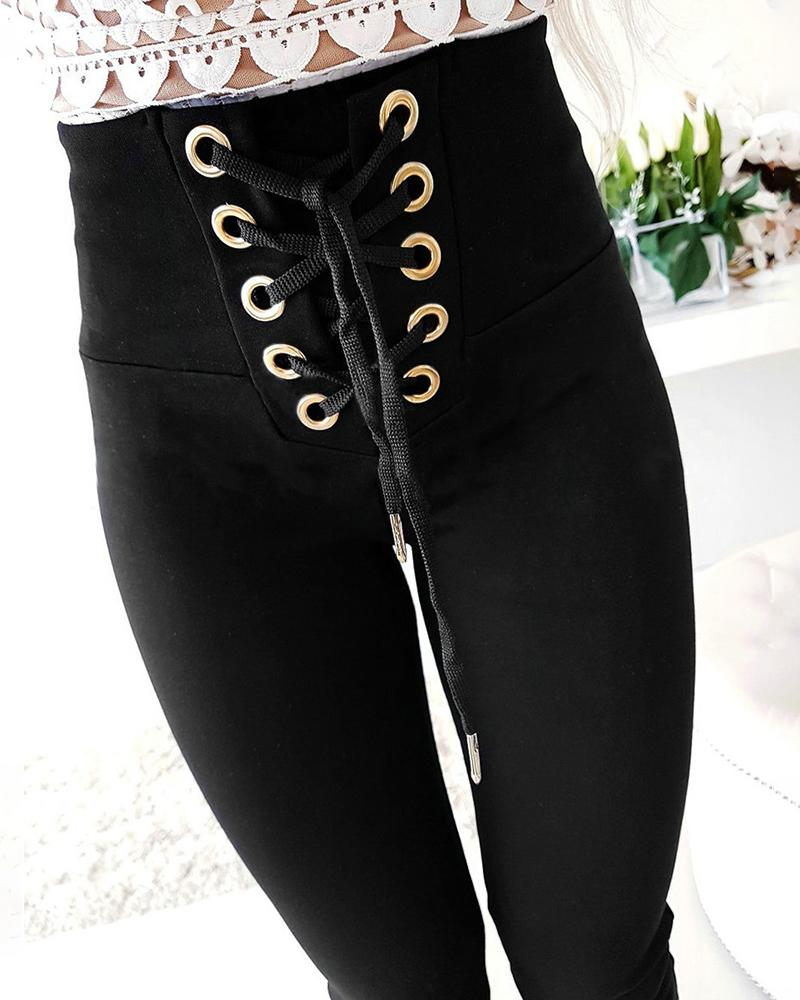 High Waist Eyelet Lace-up Pants