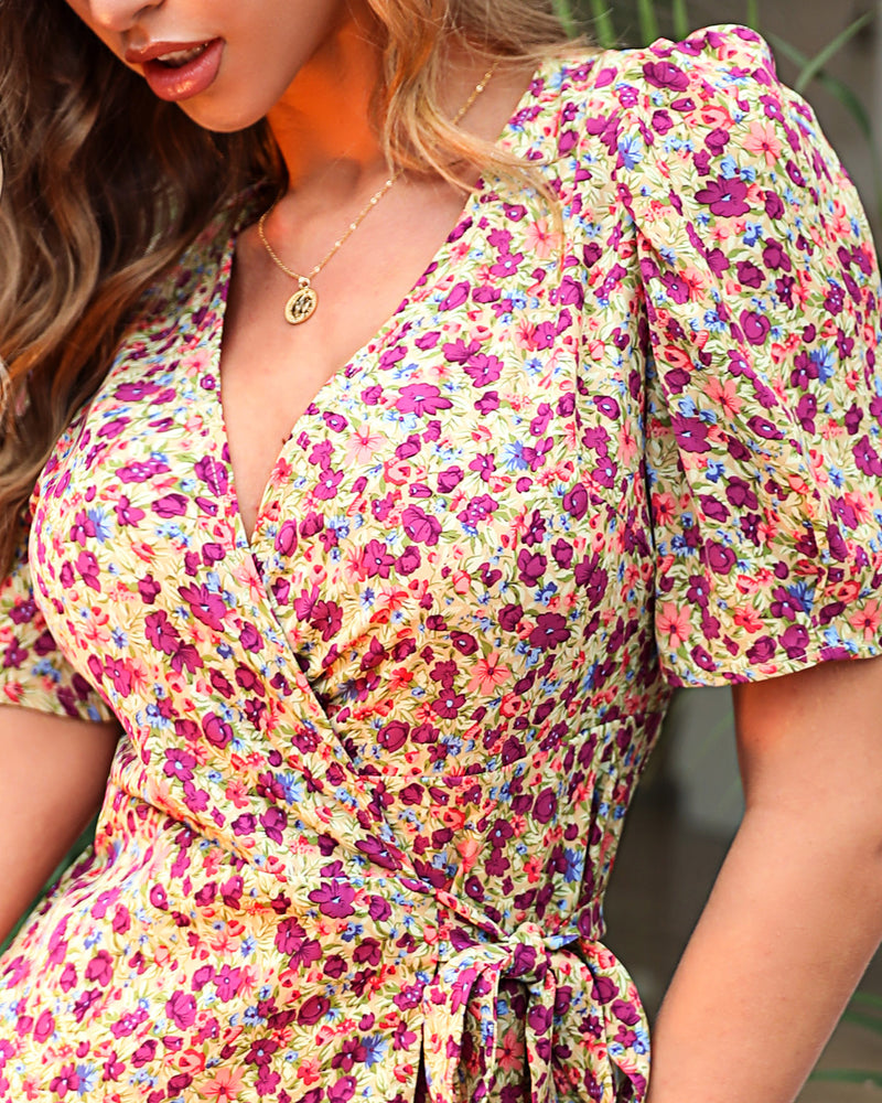V-neck Floral Print Wrap Dress