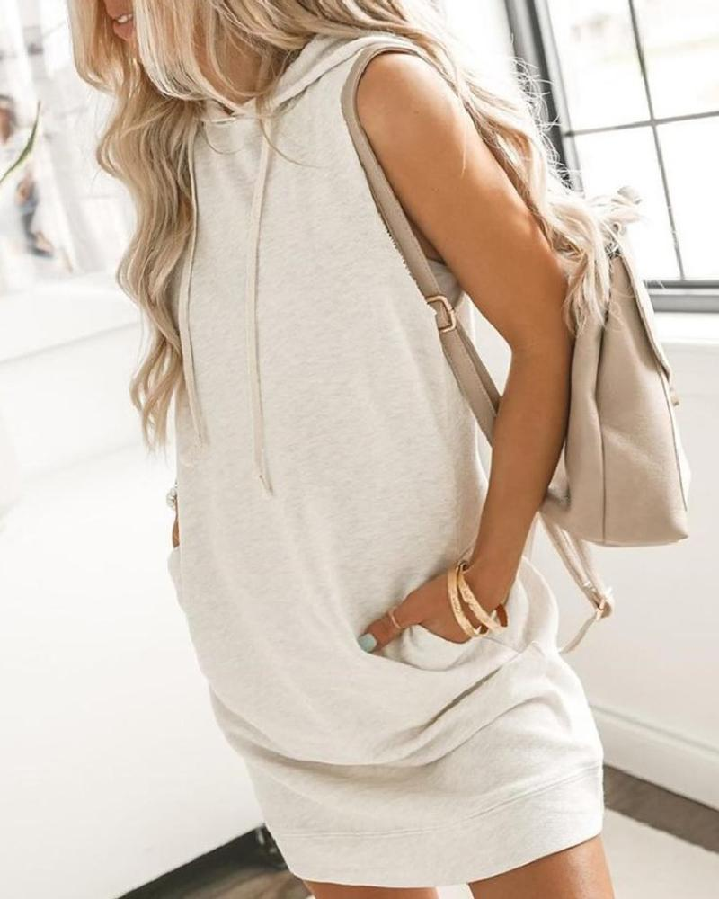 Cream Hooded Dual Pocket Casual Dress