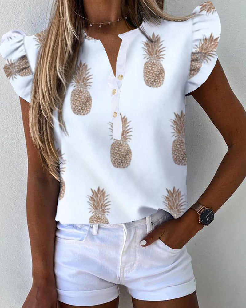 Letter Pineapple Print Ruffles Sleeve Casual Top