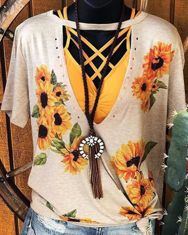 V-neck Cut Out Sunflower Print T-shirt
