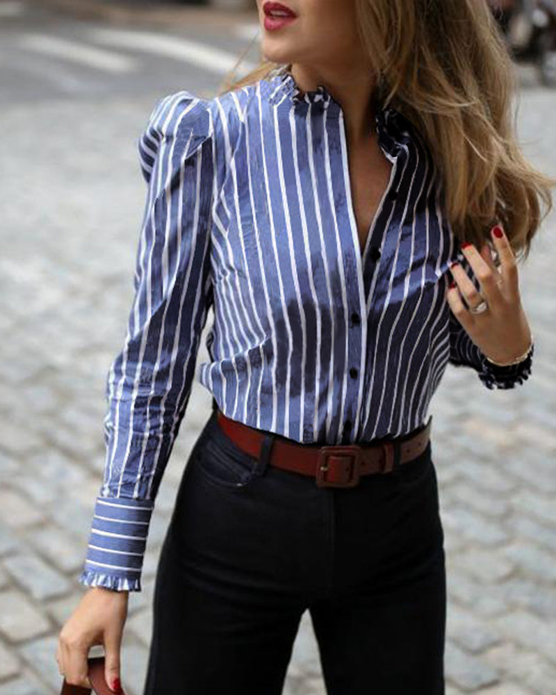 Striped Puffed Sleeve Frill Hem Casual Shirt