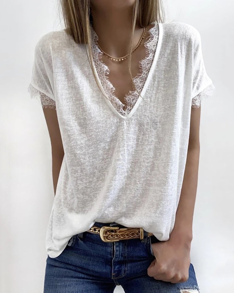 Eyelash Lace Trim V-neck Casual T-shirt