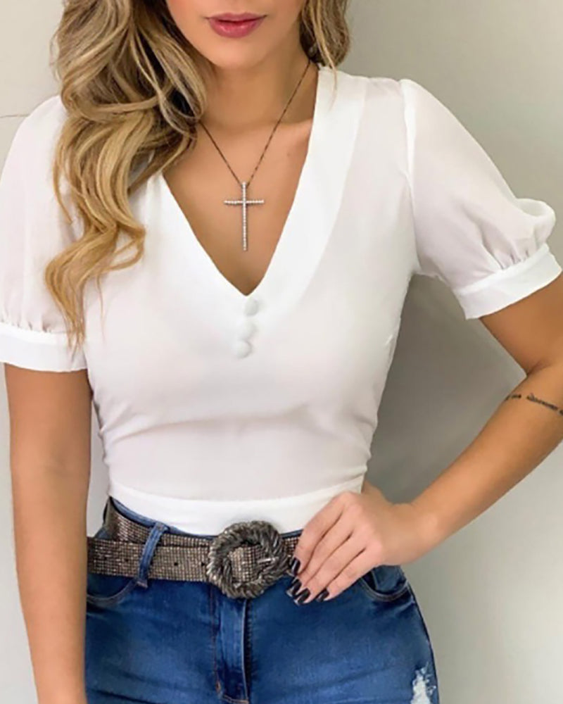 Solid V Neck Short Sleeve Blouse