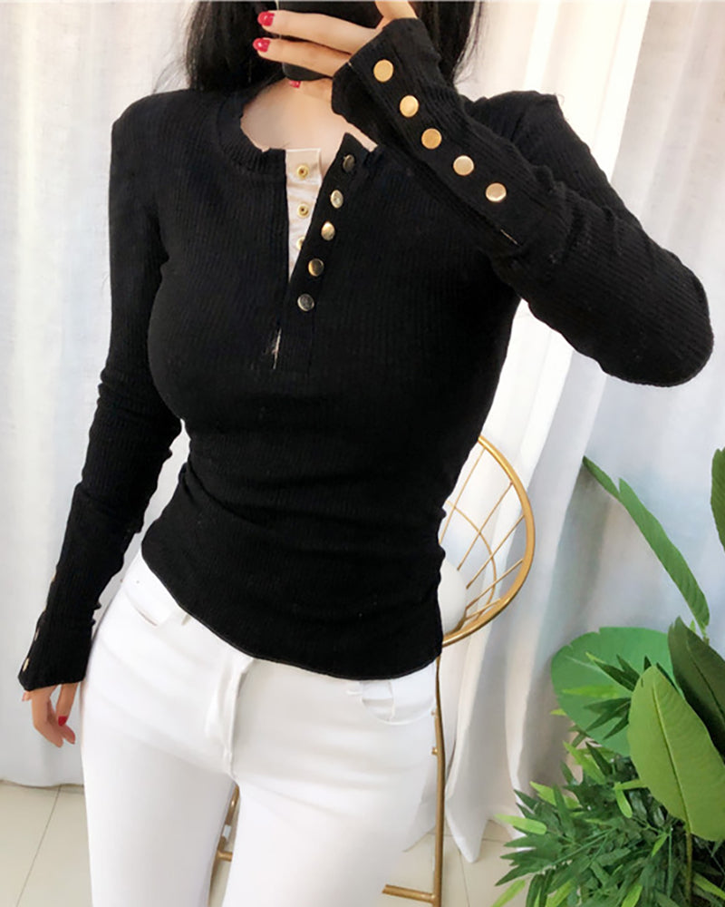 Long Sleeve Ribbed Bottoned Design T-shirt
