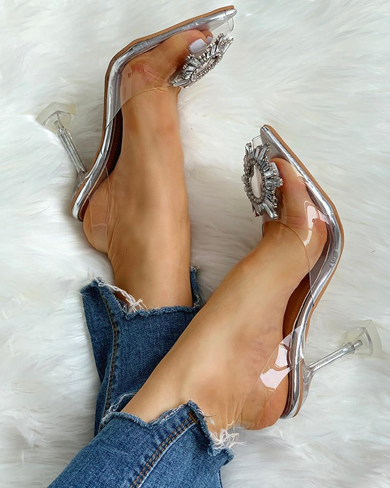 Studded Pointed Toe Transparent Thin Heels