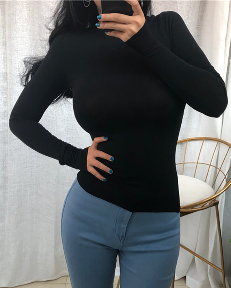 Solid Long Sleeve Round Neck T-shirt