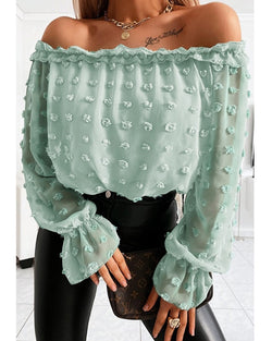 Off Shoulder Mesh Long Sleeve Blouse