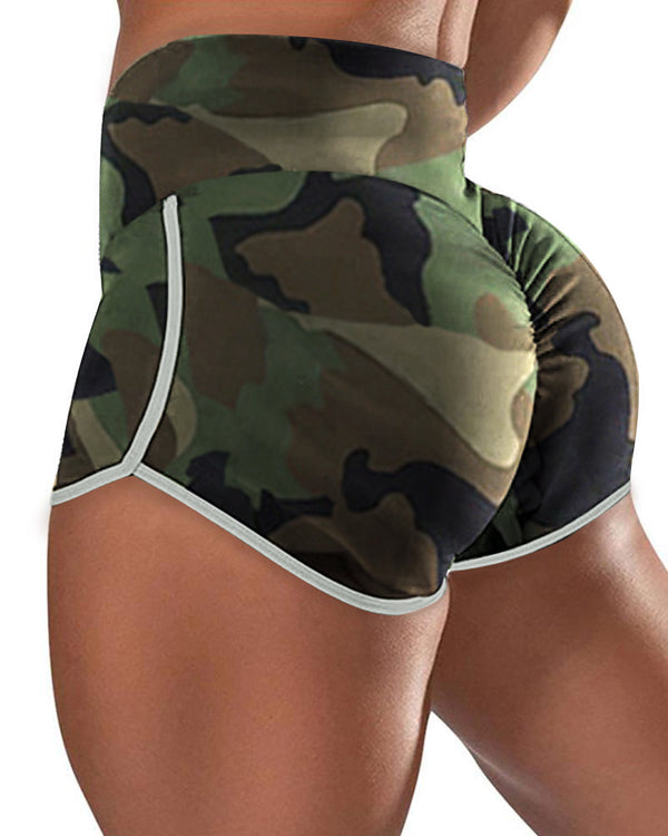 Camouflage Print High Waist Sporty Shorts