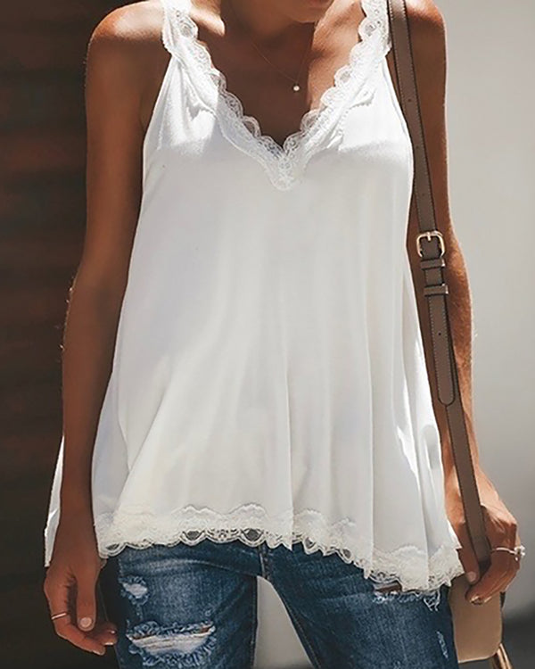 Crochet Lace Trim Casual Tank Top