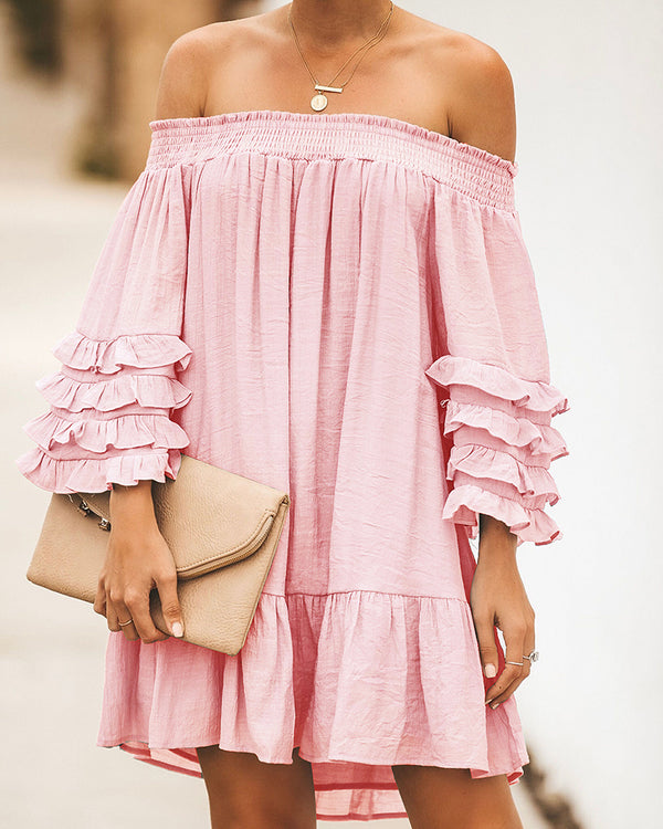 Off-shoulder Ruched Dress