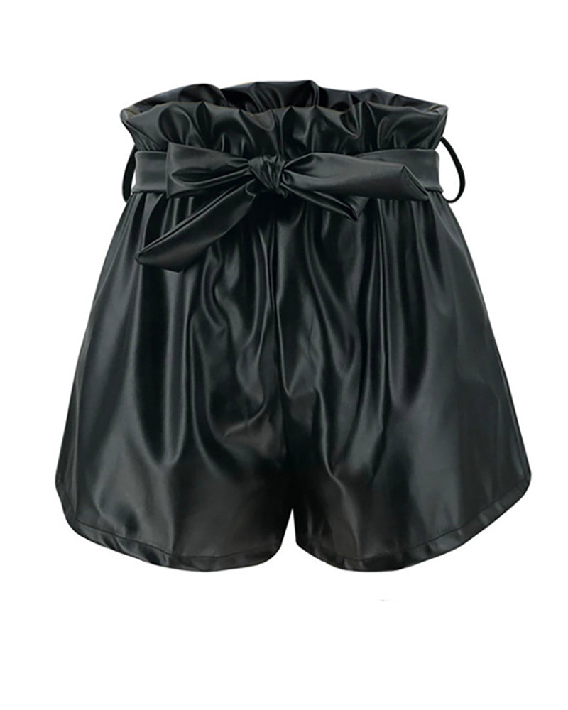 Solid Tied Detail Ruffles Casual Shorts