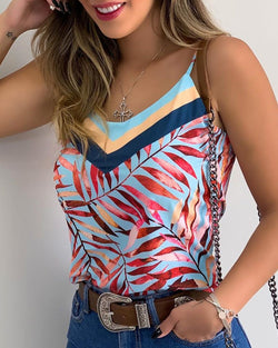 Print V-neck Spaghetti Strap Casual Top