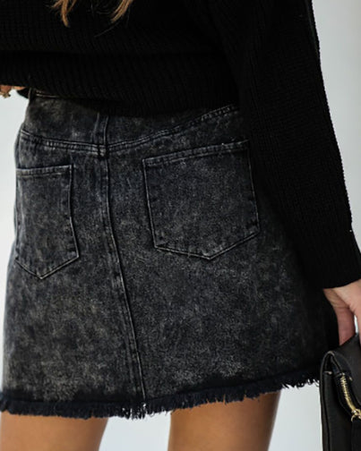 Distressed Fringe Hem Denim Mini Skirt