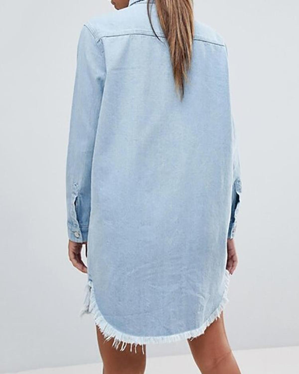 Denim Frayed Hem Long Sleeve Shirt Dress