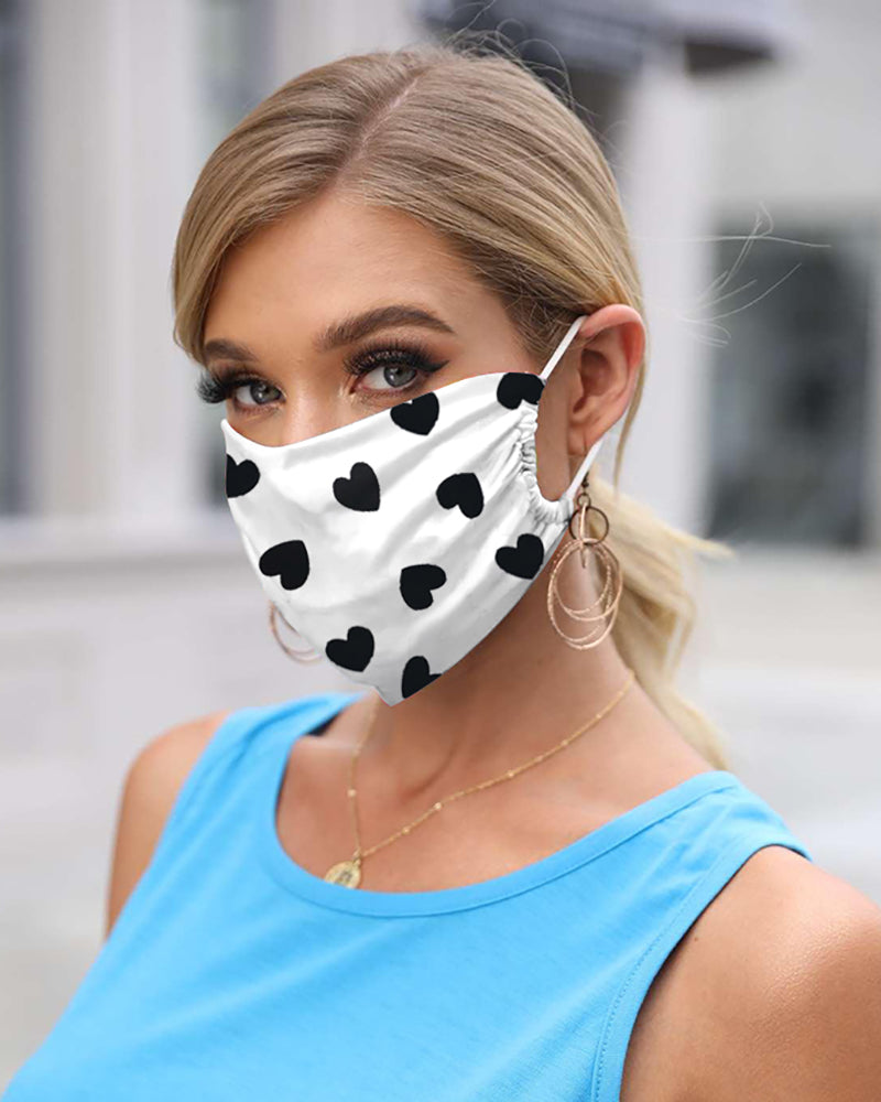 Heart Print Breathable Mouth Mask Washable And Reusable