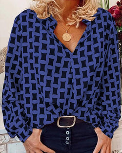 Geo Print Long Sleeve Casual Blouse