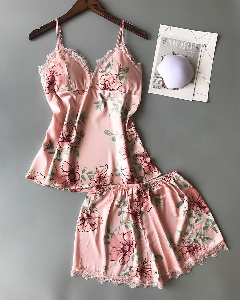 Floral Print Lace Trim Cami Sets