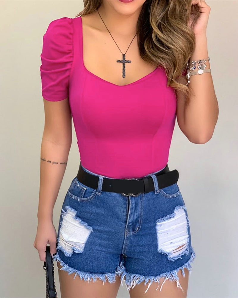 Puff Short Sleeve Casual Blouse
