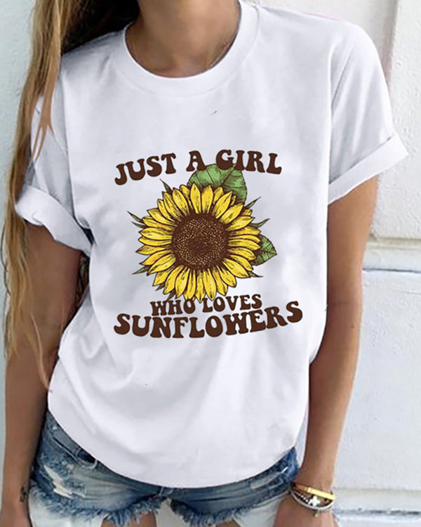 Letter Sunflower Print Shot Sleeve Casual T-shirt