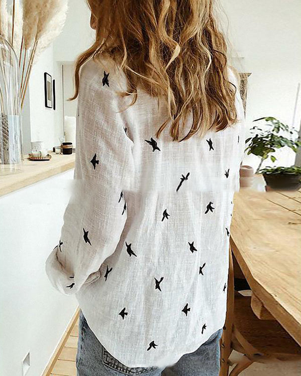Bird Print Long Sleeve Shirt