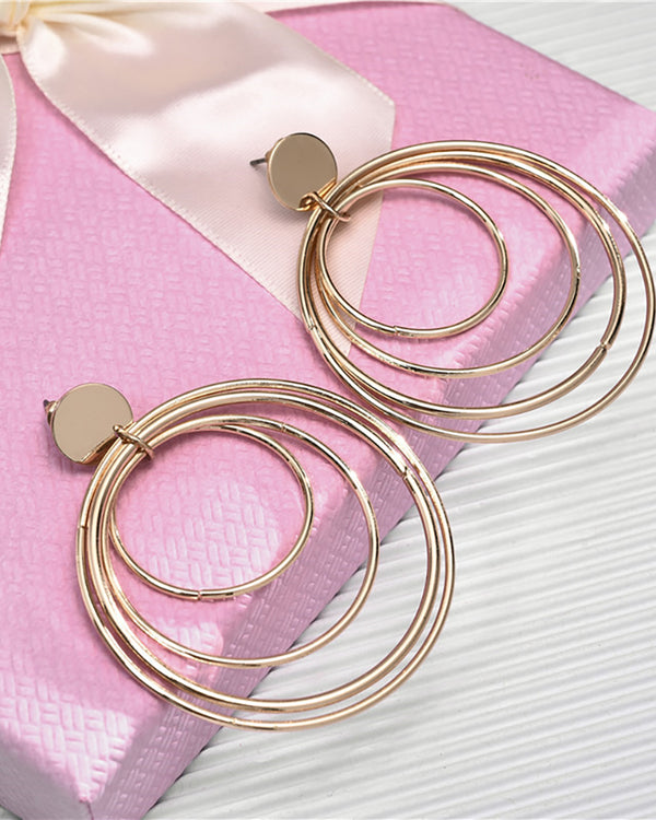 Tiered Ring Decor Drop Earring
