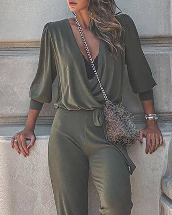 V-neck Ruched Casual Top & Pants Set