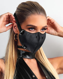 Nose Ring Punk Leather Motorcycle Biker Face Mask