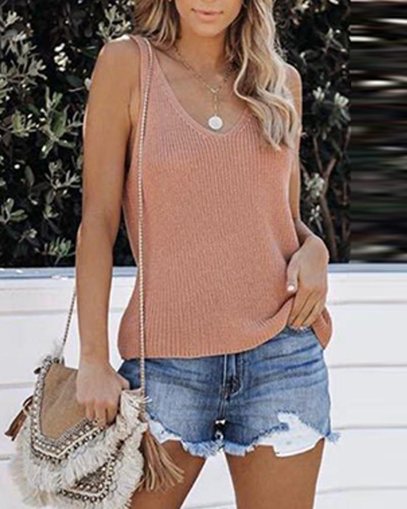 Sleeveless Knit Cami Top