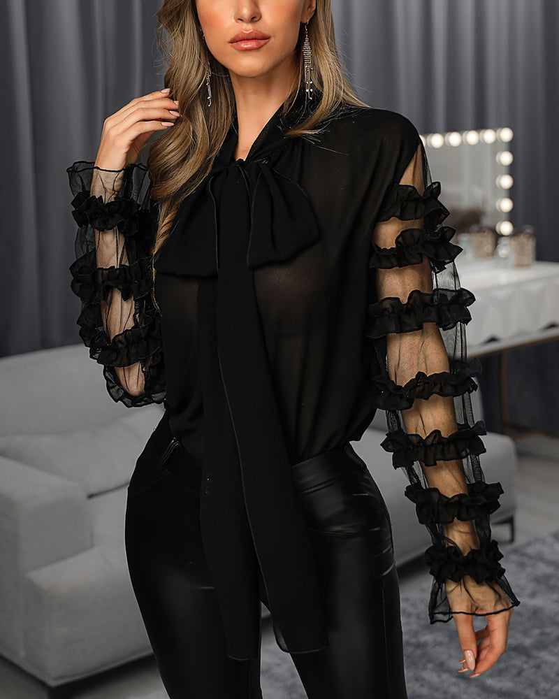 Scarf Neck Long Sleeve Blouse
