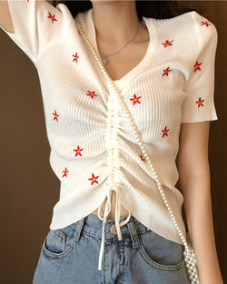 Floral Embroidery Drawstring Ribbed T-shirt