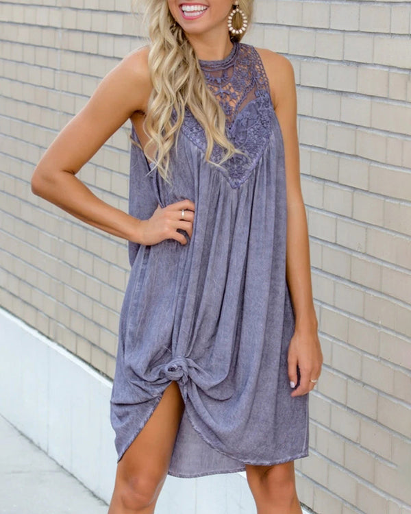 Crochet Lace Insert Sleeveless Casual Dress