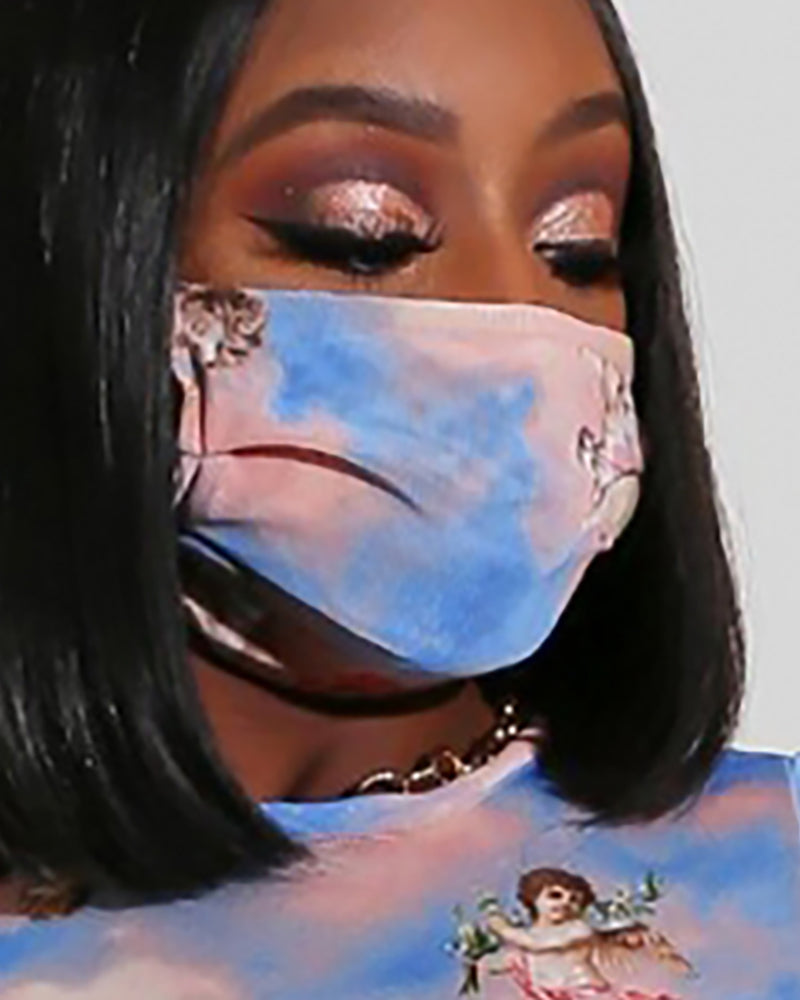 Tie Dye Print Angel Pattern Breathable Mouth Mask Washable And Reusable