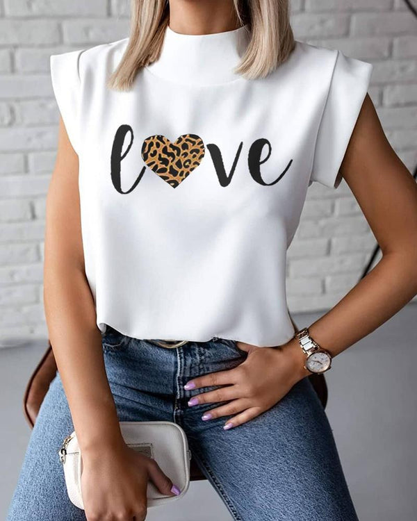 Cheetah Letter Print Mock Neck Top