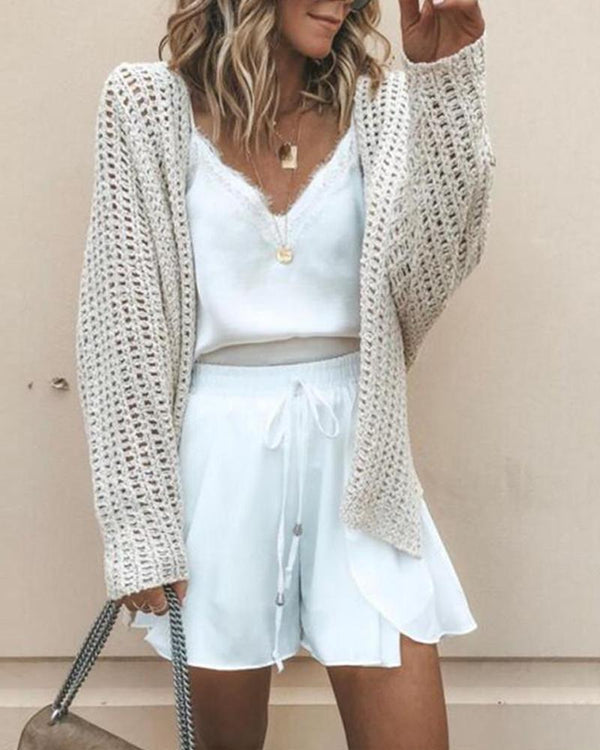 Long Sleeve Pointele Knitted Cardigan