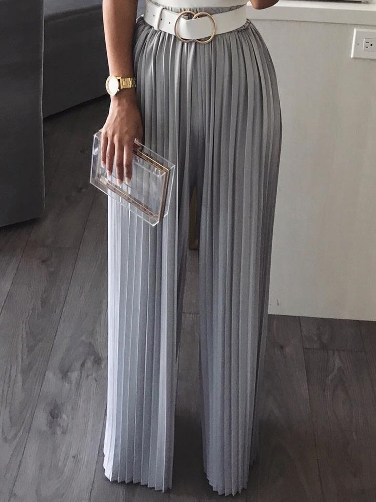 Solid Pleated Wide Leg Casual Pants