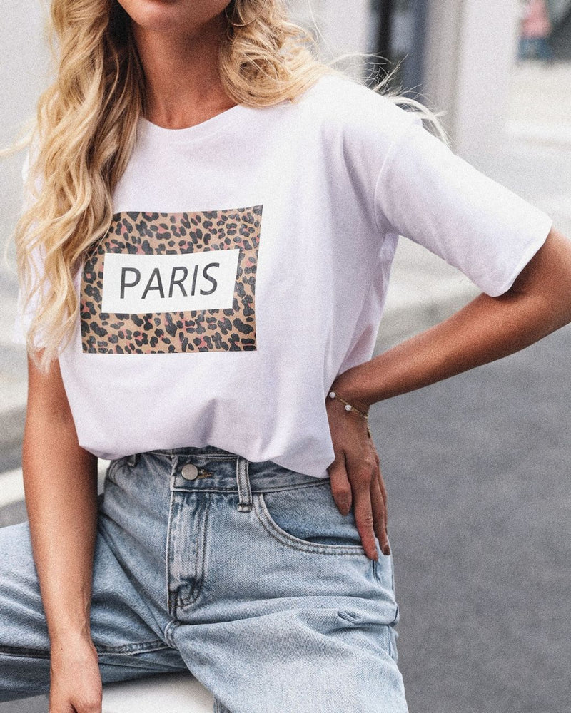 Letter Leopard Pattern Short Sleeve Casual T-shirt