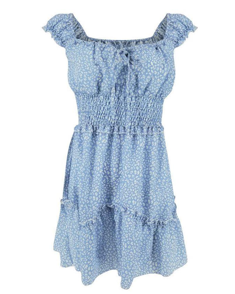 Floral U Neck Ruffle Casual Dress