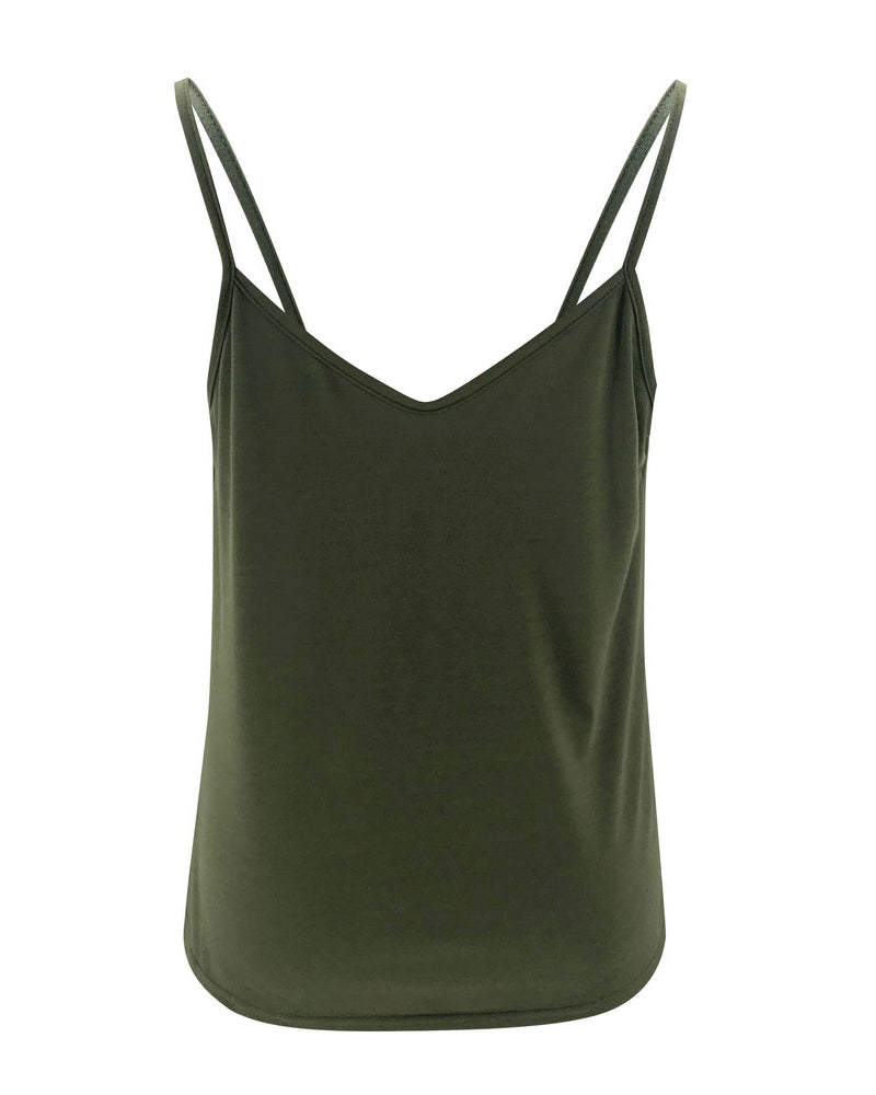 Cowl Neck Spaghetti Strap Sleeveless Casual Top