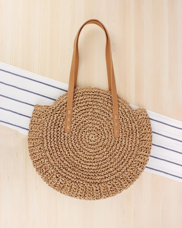 Boho Woven Straw Round Rattan Shoulder Bags