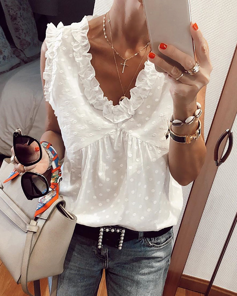Frill Hem Swiss Dot Sleeveless Casual Blouse