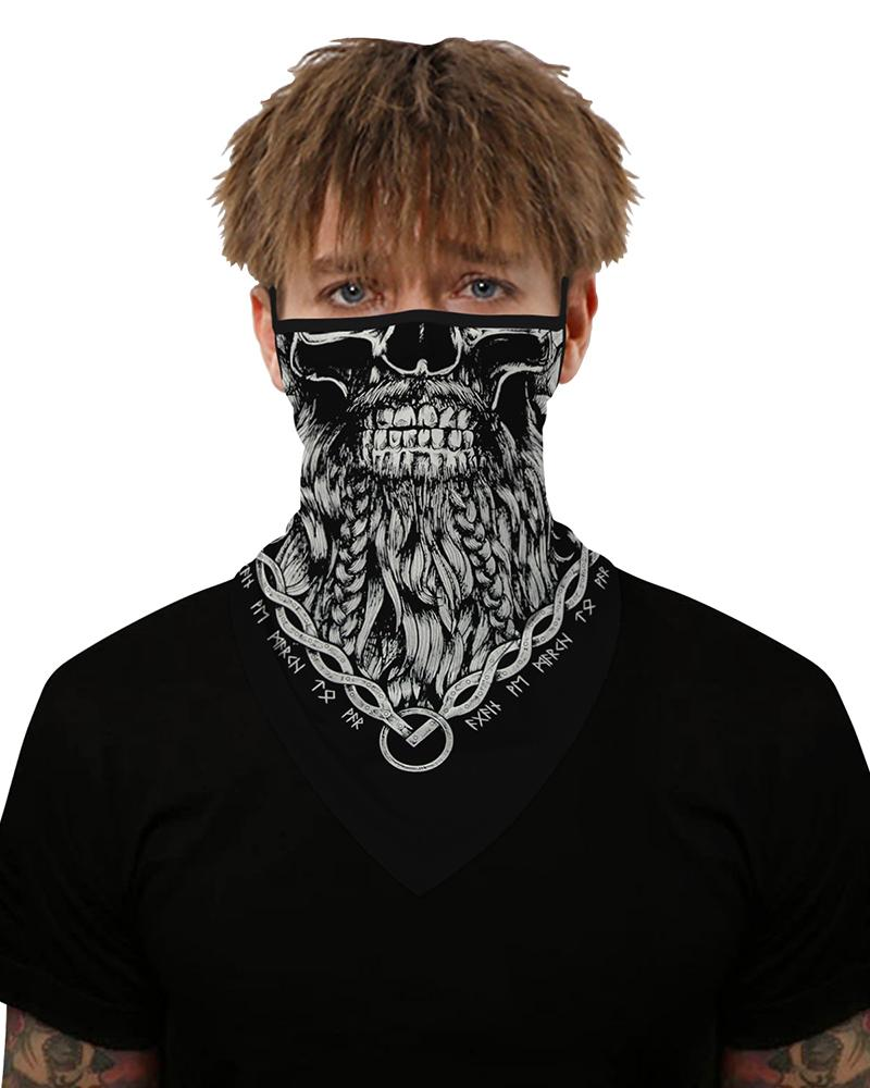 Skull Print Breathable Ear Loop Face Cover Windproof Motorcycling Dust Outdoors